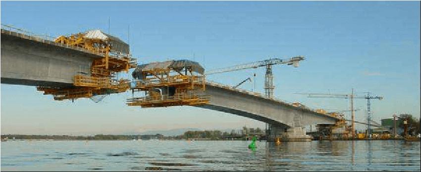 Puente de hormigón postensado sobre el río Rhin-Bilfinger-Berger-AG